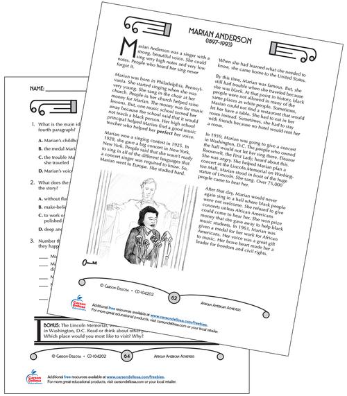 Marian Anderson Grades 3-5 Free Printable