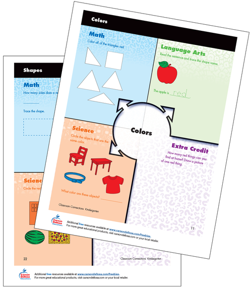 Identifying and Classifying Colors and Shapes K-2 Free Printable