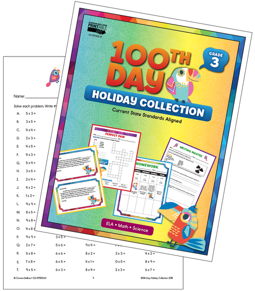 100th Day Holiday Printable Collection Grade 3 Free Printable