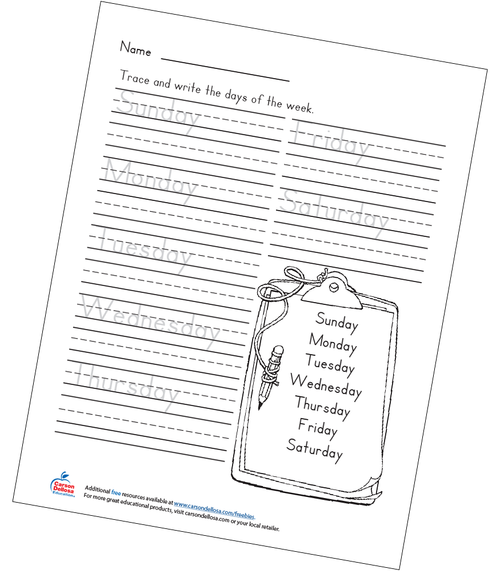 Days of the Week Handwriting Grades K-2 Free Printable