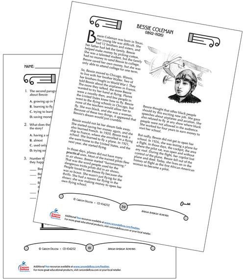 Bessie Coleman Grades 3-5 Free Printable