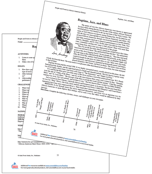Ragtime, Jazz, and Blues Grades 6-8 Free Printable