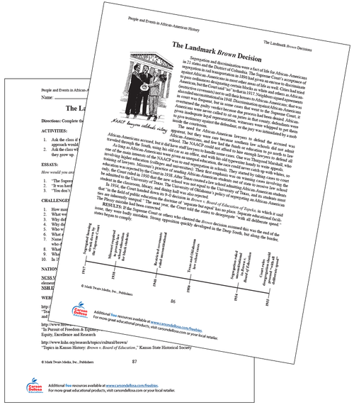 The Landmark Brown Decision Grades 6-8 Free Printable