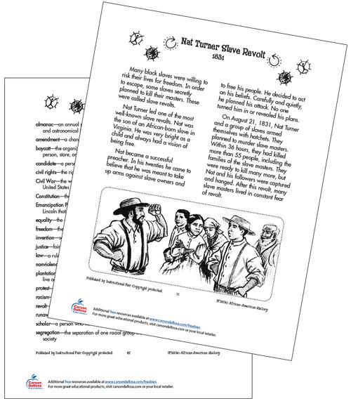 Nat Turner Slave Revolt Grades 2-3 Free Printable