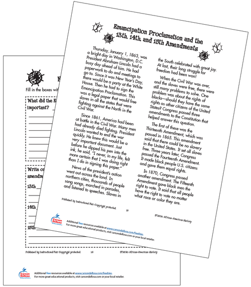Emancipation Proclamation and the 13th, 14th and 15th Amendments Grades 2-3 Free Printable