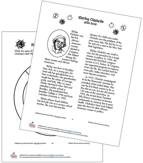 Shirley Chisholm: The First Black Congresswoman Grades 2-3 Free Printable