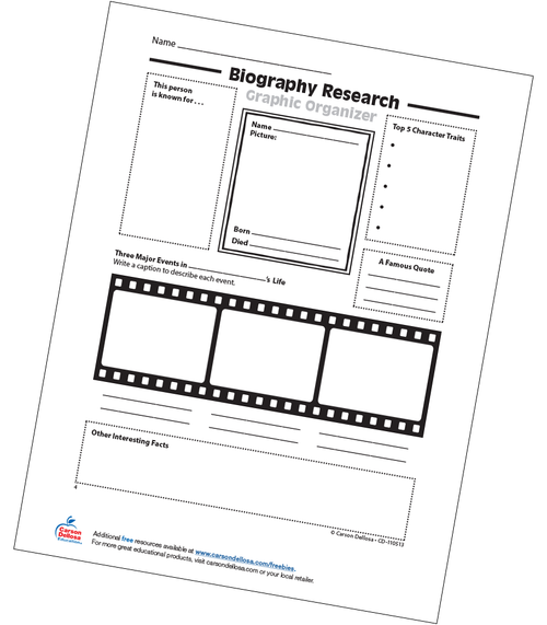Biography Research: Graphic Organizer Free Printable