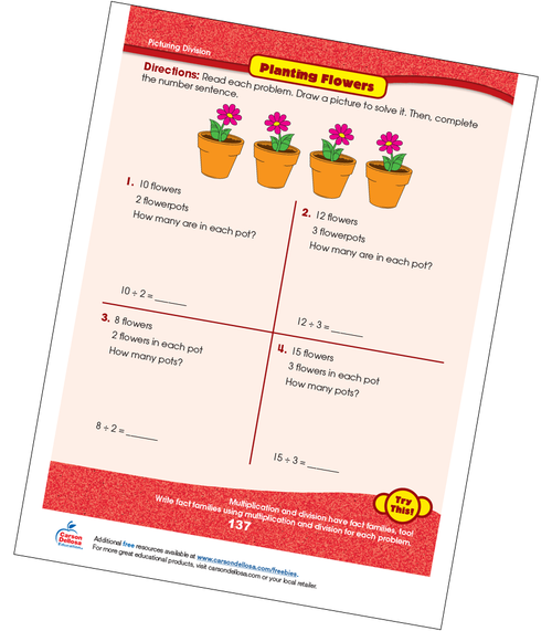 Picturing Divison: Planting Flowers Free Printable