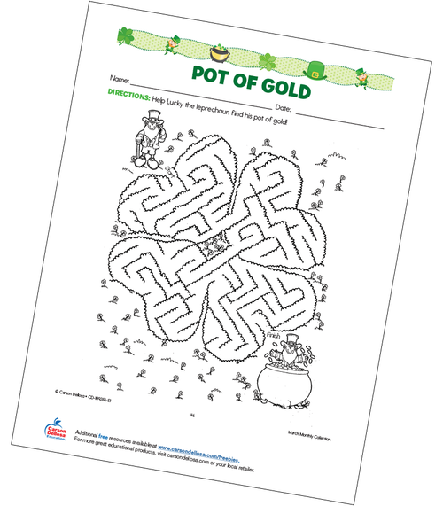 Pot of Gold Maze Free Printable