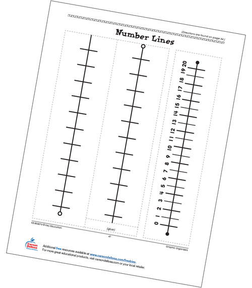 Number Lines Math Graphic Organizers Grades 3-4 Free Printable