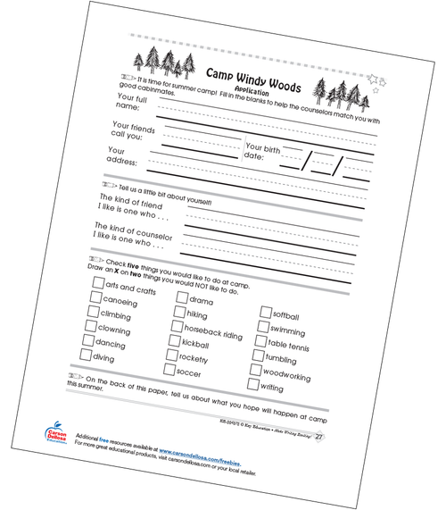 Camp Windy Woods Application Grades 1-2 Free Printable