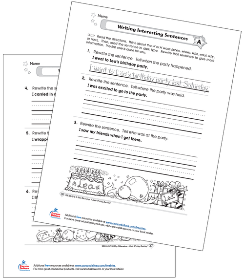 Writing Interesting Sentences Grades 1-2 Free Printable