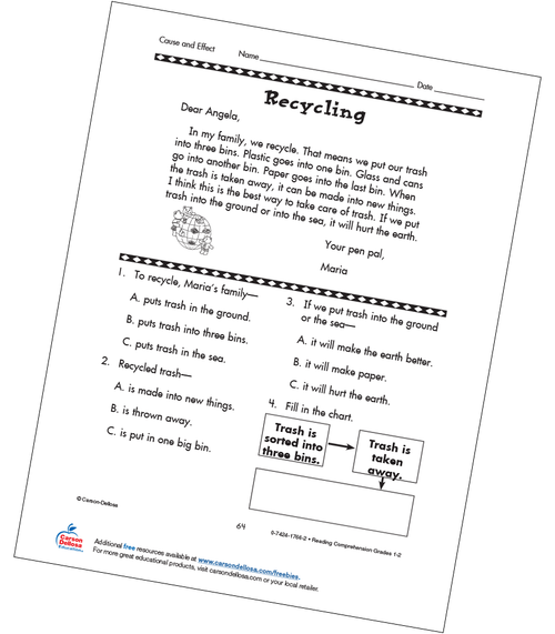 Cause and Effect: Recycling Grades 1-2 Free Printable