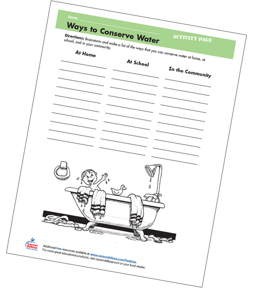 Ways to Conserve Water Grades 4-5 Free Printable