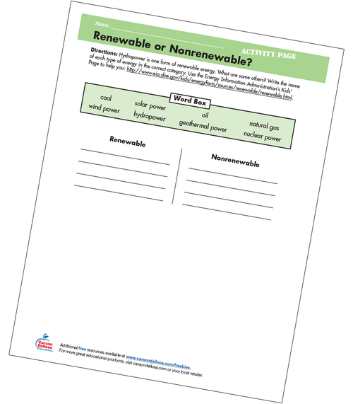 Renewable or Nonrenewable Grades 4-5 Free Printable