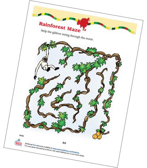 Rainforest Maze, Grades 2-3 Free Printable
