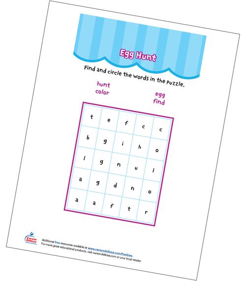 Egg Hunt Word Search Grades PK-K Free Printable