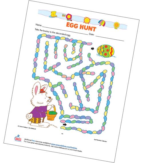 Egg Hunt Maze Grades 2-3 Free Printable