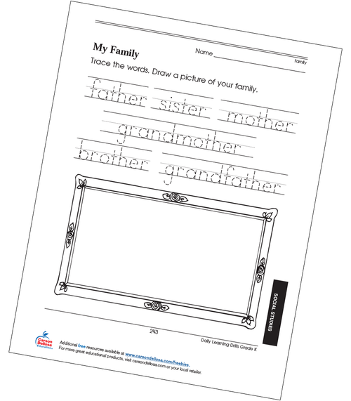 My Family Grade K Free Printable
