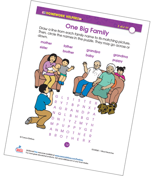 One Big Family Word Search Grade2 Free Printable