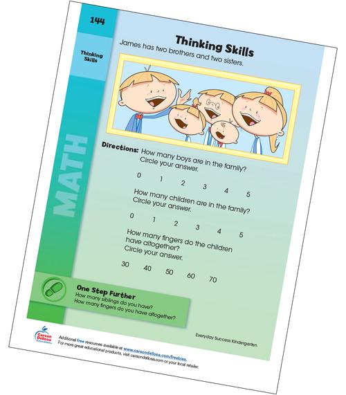 Family Thinking Skills Grade K Free Printable