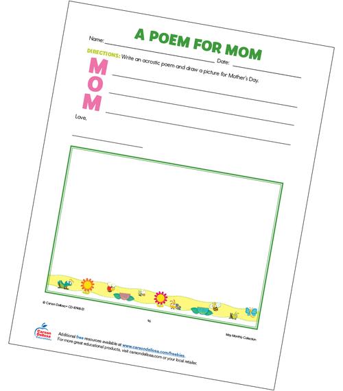 A Poem for Mom Grades K-5 Free Printable