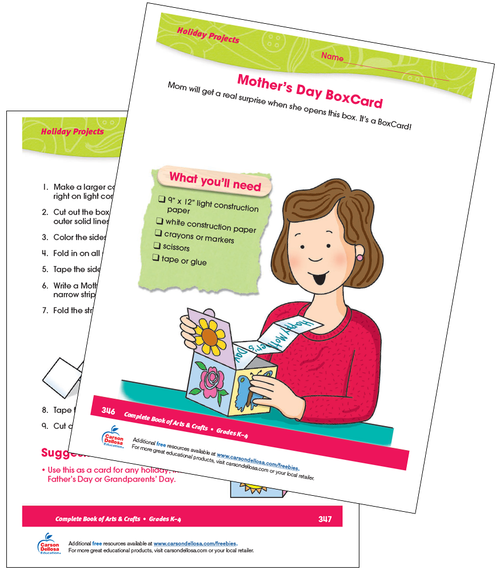 Mother's Day BoxCard Grades K-4 Free Printable