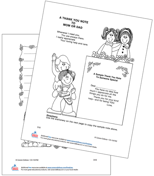 A Thank You Note to Mom or Dad Grades K-4 Free Printable