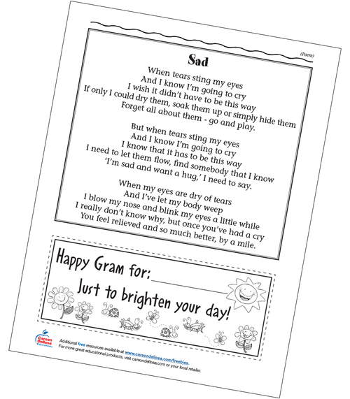 Poem about Feeling Sad Grades PreK-2 Free Printable