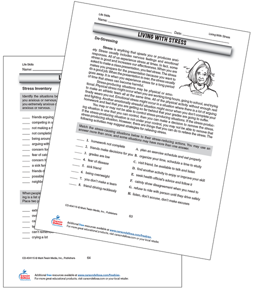 Living with Stress: De-Stressing Grades 5-8 Free Printable