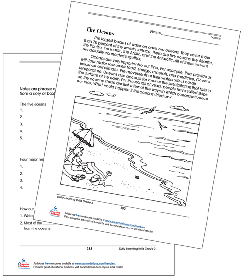 The Oceans Grade 3 Free Printable