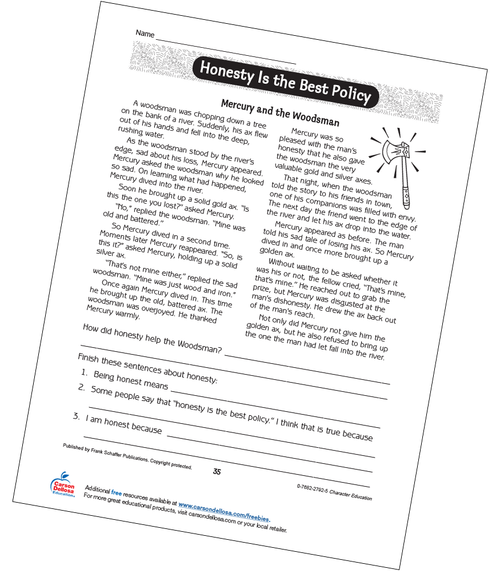 Honesty is the Best Policy Grades 2-3 Free Printable