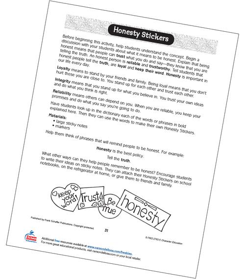 Honesty Stickers Grades 2-3 Free Printable