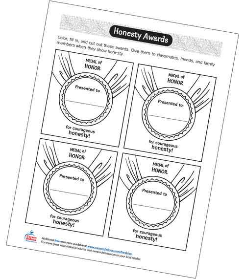Honesty Awards Grades 2-3 Free Printable