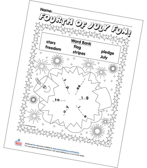 Fourth of July Fun Word Bank Grades 1-3 Free Printable