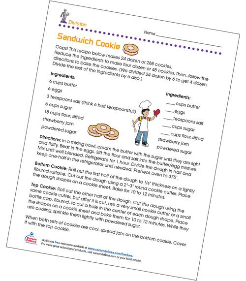 Sandwich Cookie Grades 3-4 Free Printable