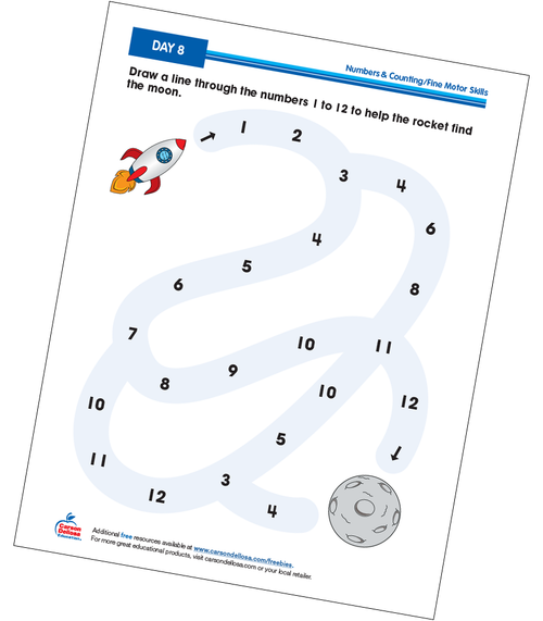 Counting: A Path to the Moon Grades Prek-K Free Printable