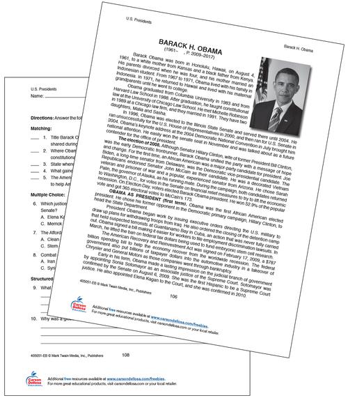 Barack Obama Grades 5-12 Free Printable