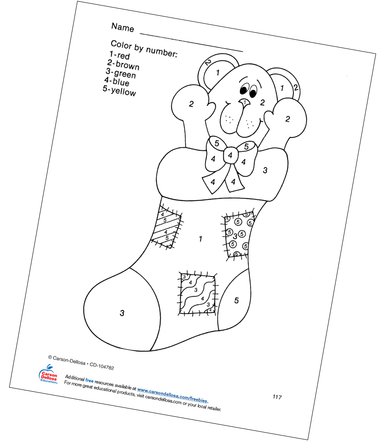 Christmas Stocking Color by Number Grades PK-1 Free
