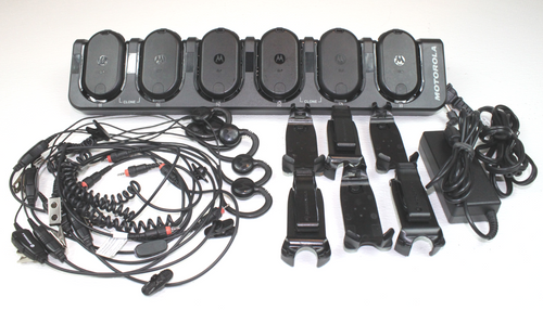 Motorola CLP1040 UHF 4 Ch Radios 6-Pack w/ Bank Charger, Earpieces & Holsters