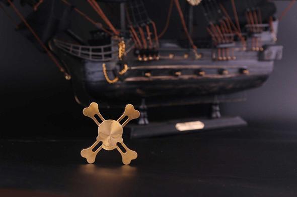 ISpin Original Skull Hand Spinner - ADHD Fidget  Brass Spinner