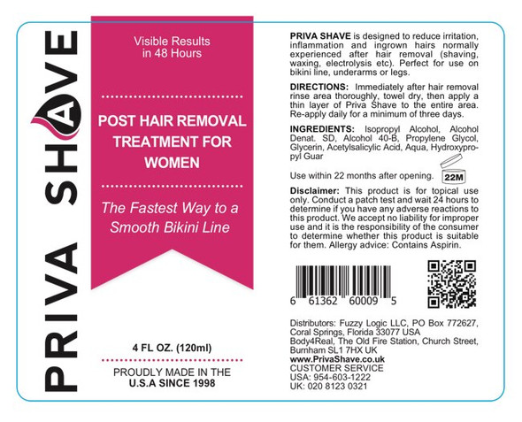 Priva Shave Post Shave Treatment  For Ingrown Hairs, Razor Bumps, Skin Redness and Rashes Women