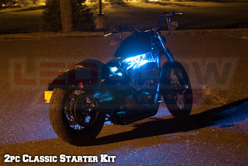 2pc Classic LED Ice Blue Motorcycle Lighting Kit