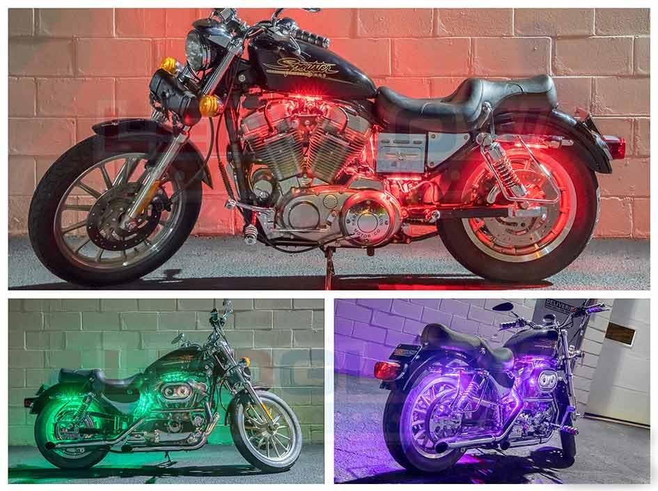 6pc Flexible Million Color LED Motorcycle Light Kit