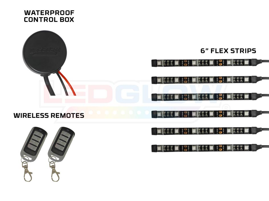LEDGlow Advanced Red SMD Motorcyle LED Lighting Kit, Flexible Strips, Waterproof Control Box & 2 Wireless Remotes