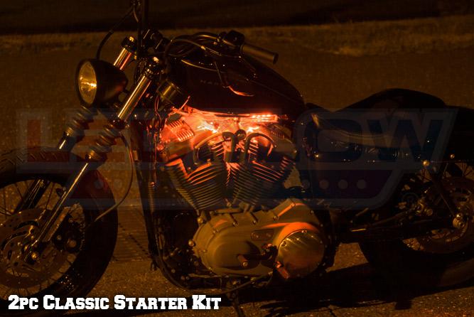 2pc Classic Orange LED Motorcycle Lighting Kit