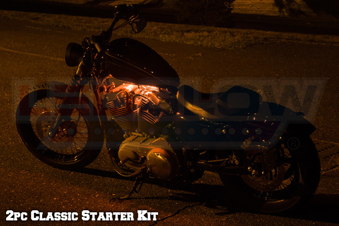 2pc Classic Orange LED Motorcycle Underglow Lights