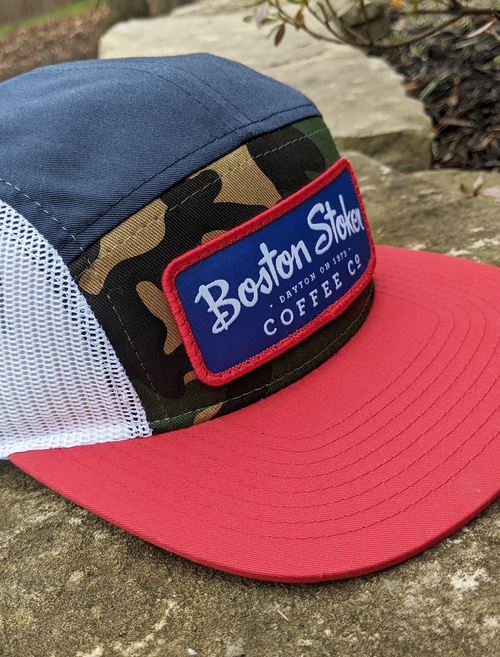 5 Panel Hat- Red/White/Blue/Camo