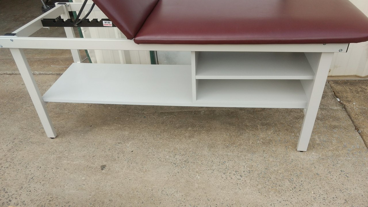 Used Clinton Lift Back Exam Table with Storage Shelf