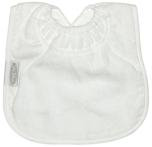 This bib is designed for bottle or breast feeding and for the messy first days of solids. Dimensions: 24cm x 21cm